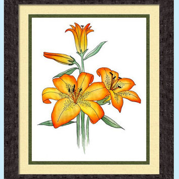 Watercolor Tiger Lily Print, Decorative Wall Decor, Floral Wall Art, Yellow and Orange Flowers, Giclee Print