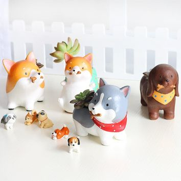 Succulents Flowerpot Kawaii Zakka Akita Dachshund Husky Dog Pets Resin Planter Flower Pot Micro Landscape Garden Home Decoration