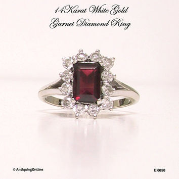 14K White Gold Garnet Diamond Ring Vintage 1970s