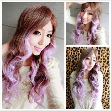 Anime Cosplay Ormbre Wigs Lolita Women Long Wavy Hair Light Brown to Light Purple Mixed Curly Wig Angel Kanekalon Long Curly wavy Sexy Harajuku Hair Wig