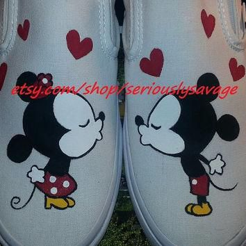 SALE Kissing Mickey Minnie Mouse Custom Painted Toms Vans Perfect Cute Shoes For Disne