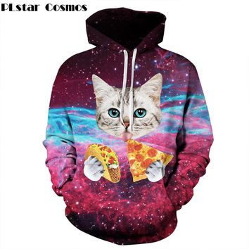 PLstar Cosmos Men/Women 3d hoodies Animal Print Funny Pizza Cat Space Galaxy Sweatshirts With Hat Autumn Thin Hoody Tracksuits