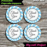"""Thank you - Cupcake toppers - Baby Blue - Instant Download - Party printable - Party favor - Candy Bar - 5 cm / 2"""""""