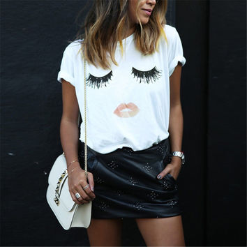 Elegant Lashes Lip Print T Shirt Tee