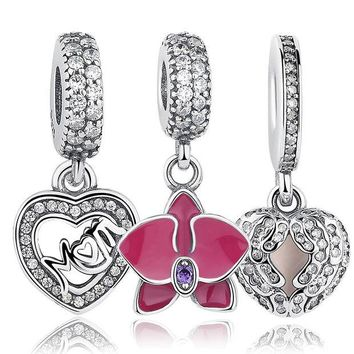 DKF4S Original 925 Sterling Silver Radiant Orchid Snowflake MOM Daisy Pendant Beads Fit  Charm Bracelet Jewelry Accessories