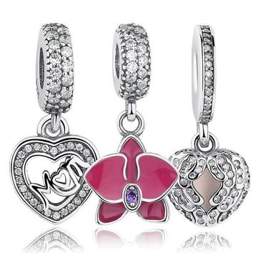 LMFONHS Original 925 Sterling Silver Radiant Orchid Snowflake MOM Daisy Pendant Beads Fit  Charm Bracelet Jewelry Accessories
