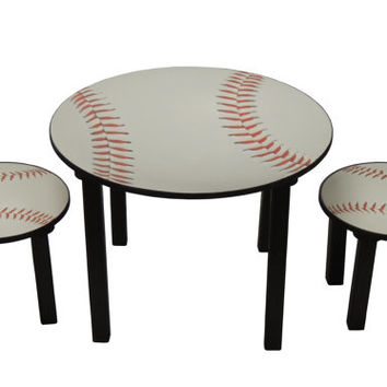 Childrens baseball theme activity table and chair set / Kids Baseball Table Set / Boys Table Set