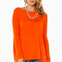 COZY LONG SLEEVE TOP IN ORANGE BY PIKO