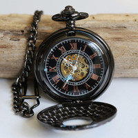 Black Mechanical Pocket Watch,Steampunk Pocket Watch,Pocket Watch Chain,Groom Gift,Groomsmen Gift