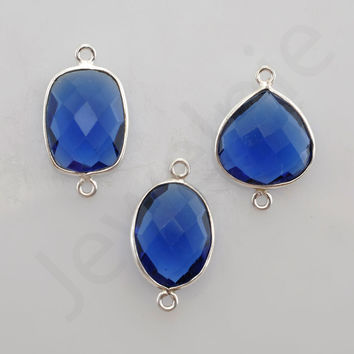 Blue Sapphire Quartz 925 Sterling Silver Bezel Station Connector and Charm, 1 piece