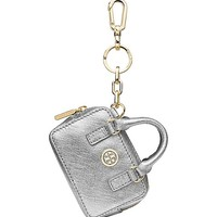 Tory Burch Robinson Metallic Shrunken Boxy Satchel Key Fob