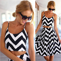 Sexy 2 pieces Summer Striped Dress Black And White