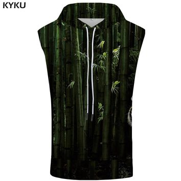 KYKU Brand Head Sleeveless Hoodie Men Fluorescence Sweatshirt Animal Shirt Green Singlets Summer Fitness Mens Clothing Muscle