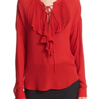 The Kooples Lace-Up Silk Ruffle Blouse | Nordstrom