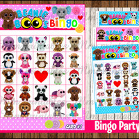 80% OFF SALE Beanie Boo's  Bingo Game instant download, Printable Beanie Boo party Bingo Game , Beanie Boo Printable Party Game Bingo