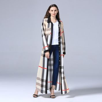 *online exclusive* long sleeve thin button down plaid duster blouse