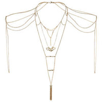 Tassel Drop Multi Bodychain - Gold