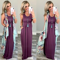 I'll Be By the Pool Maxi Dress - Eggplant