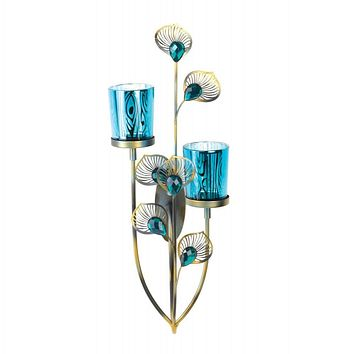 Peacock Plume Candle Wall Sconce