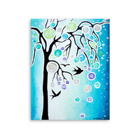 Bird Painting, Tree of Life Original Acrylic Painting on Canvas, Bird Silhouettes, Blue Black Purple Green 11x14