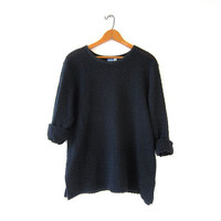 Vintage black loose knit shirt. Open knit top. Oversized slouchy shirt.