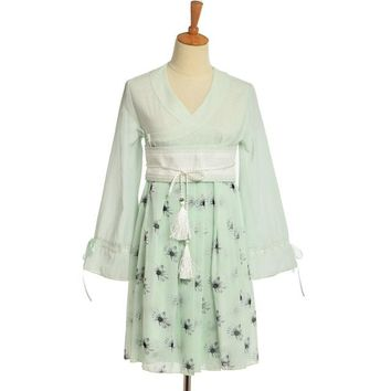 Chengbi Chinese Vintage Sweet Lolita Traditional Flower Print Long Sleeve Chiffon Dress