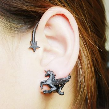 Black Gold Silver Horse Unicorn Ear Cuff Clip Earrings Without Piercing Pendientes Mujer Moda Earrings For Women Fashion Jewelry