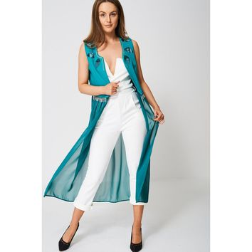 Exclusive Collection Embellished Green Chiffon Maxi Cardigan