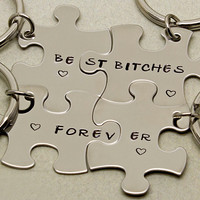 Best Bitches Forever Puzzle Piece Keychains   Set of 4    Gift for Best Friend   Best Bitches Keychains   Best Friend Gift   Keyring