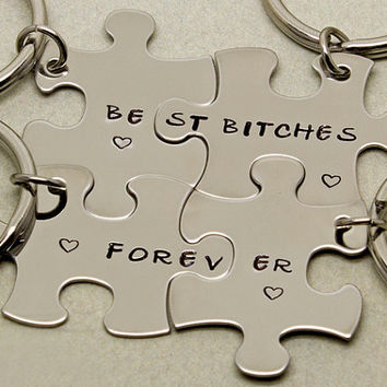 Best Bitches Forever Puzzle Piece Keychains | Set of 4 |  Gift for Best Friend | Best Bitches Keychains | Best Friend Gift | Keyring