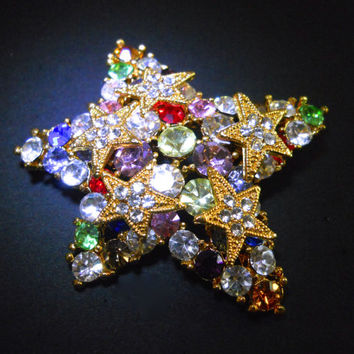Fruit Salad Star Brooch, Multi Color Rhinestones, Vintage