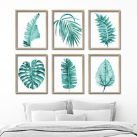 Watercolor Teal Leaf Wall Art, Botanical Leaves Plant CANVAS or Prints, Teal Bathroom Decor, Teal Bedroom Wall Decor, Blue Decor Set of 6