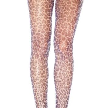 Leopard Grey and Black Fishnet Pantyhose