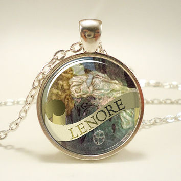 Edgar Allan Poe Necklace Lenore Gothic Jewelry Silver by rainnua