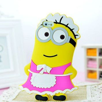 Kate Sister : Iphone 5 and 5s New 3D Minion Pink Maid Despicable Me Silicone Rubber Case