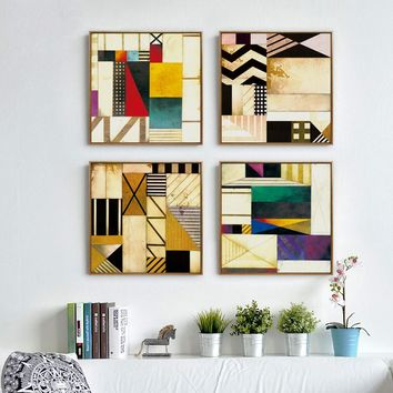 Bianche Wall Geometric Pattern Abstract Modern Art Canvas Painting Art Print Poster Picture Mural Bedroom Living Room Decoration