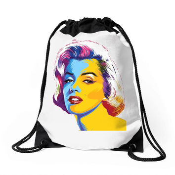 pop art marilyn monroe Drawstring Bags