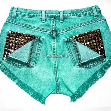 High Waisted Studded Shorts, Vintage Denim Shorts, High Rised Frayed Denim Shorts, Fashion, Green Denim Shorts, Plus Size Shorts
