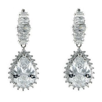 Selena Baguette Tear Drop Dangle Chandelier Earrings | 8ct | Cubic Zirconia | Silver