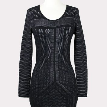 Jacquard Mesh Bodycon Dress