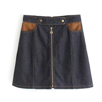 Women's Fashion Summer Strong Character With Pocket Mosaic Zippers Denim Skirt [4920274180]
