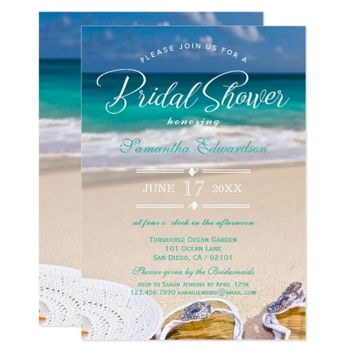 Modern Turquoise Ocean Beach Bridal Shower Card