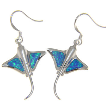 925 Sterling Silver Rhodium Hawaiian Stingray Fish Blue Opal Hook Wire Earrings