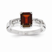 14k White Gold Garnet and White Topaz Square Ring