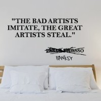"""Great Artist Banksy Quote - 35"""" Black Vinyl Wall Decal"""