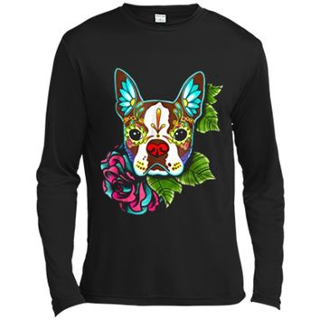 Boston Terrier in Red - Day of the Dead Sugar Skull Dog Long Sleeve Moisture Absorbing Shirt