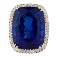 Untreated 45.26 Carat Tanzanite Diamond Ring