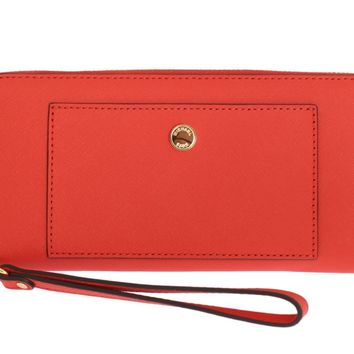 Michael Kors Red GREENWICH Continental Leather Wallet