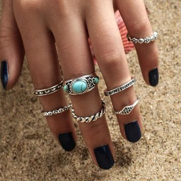 Turquoise Ring 7-pcs Pack Set [10802527427]