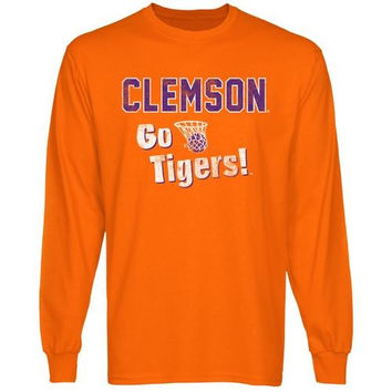 Clemson Tigers Basketball Cheering Section Long Sleeve T-Shirt - Orange